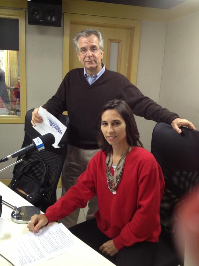 Marina Vasconcellos e o apresentador Andrea Matarazzo